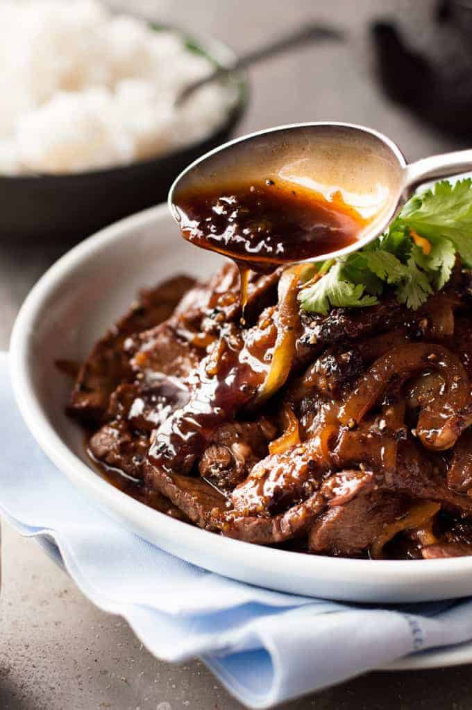 Beef with Honey & Black Pepper Sauce