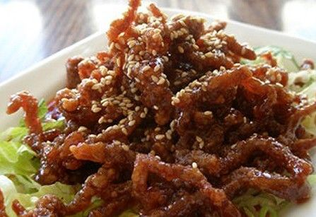 Fried shredded beef with chilli sauce